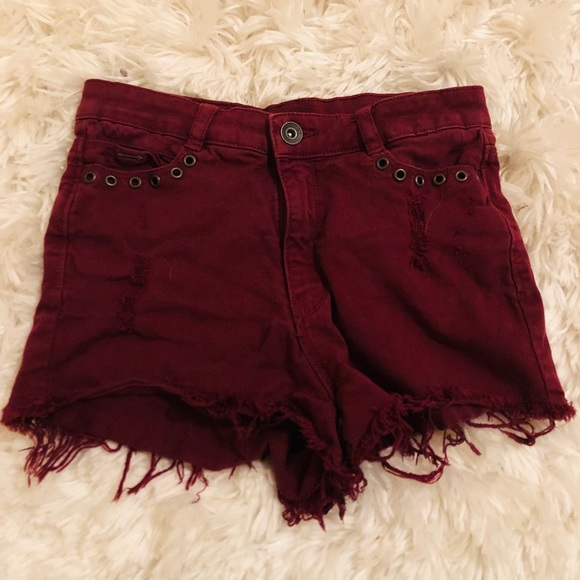 clockhouse Pants - Maroon High Waisted Shorts from Paris